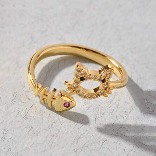 Women's Kitty and Fish Layering Ring gold front | MILK MONEY | milkmoney.co
