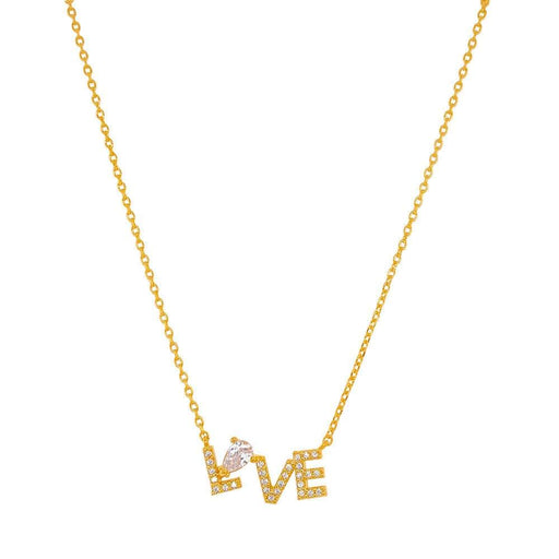 LOVE Crystal Charm Necklace gold MILK MONEY