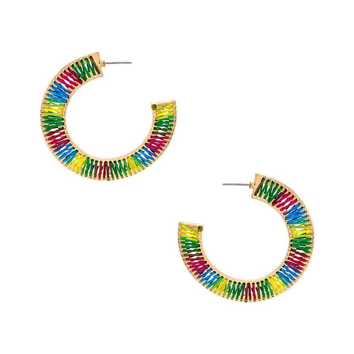 Large Thread Wrapped Flat Hoops rainbow flat MILK MONEY
