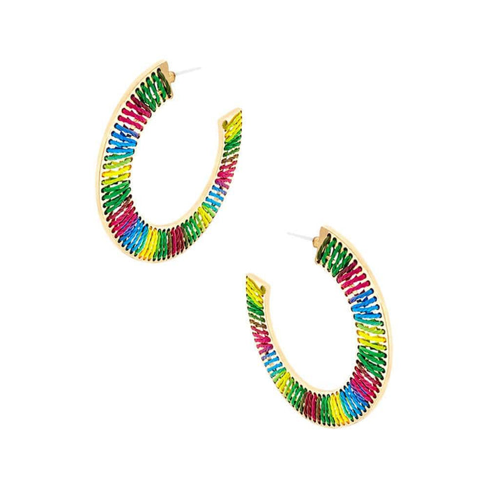 Large Thread Wrapped Flat Hoops rainbow side MILK MONEY