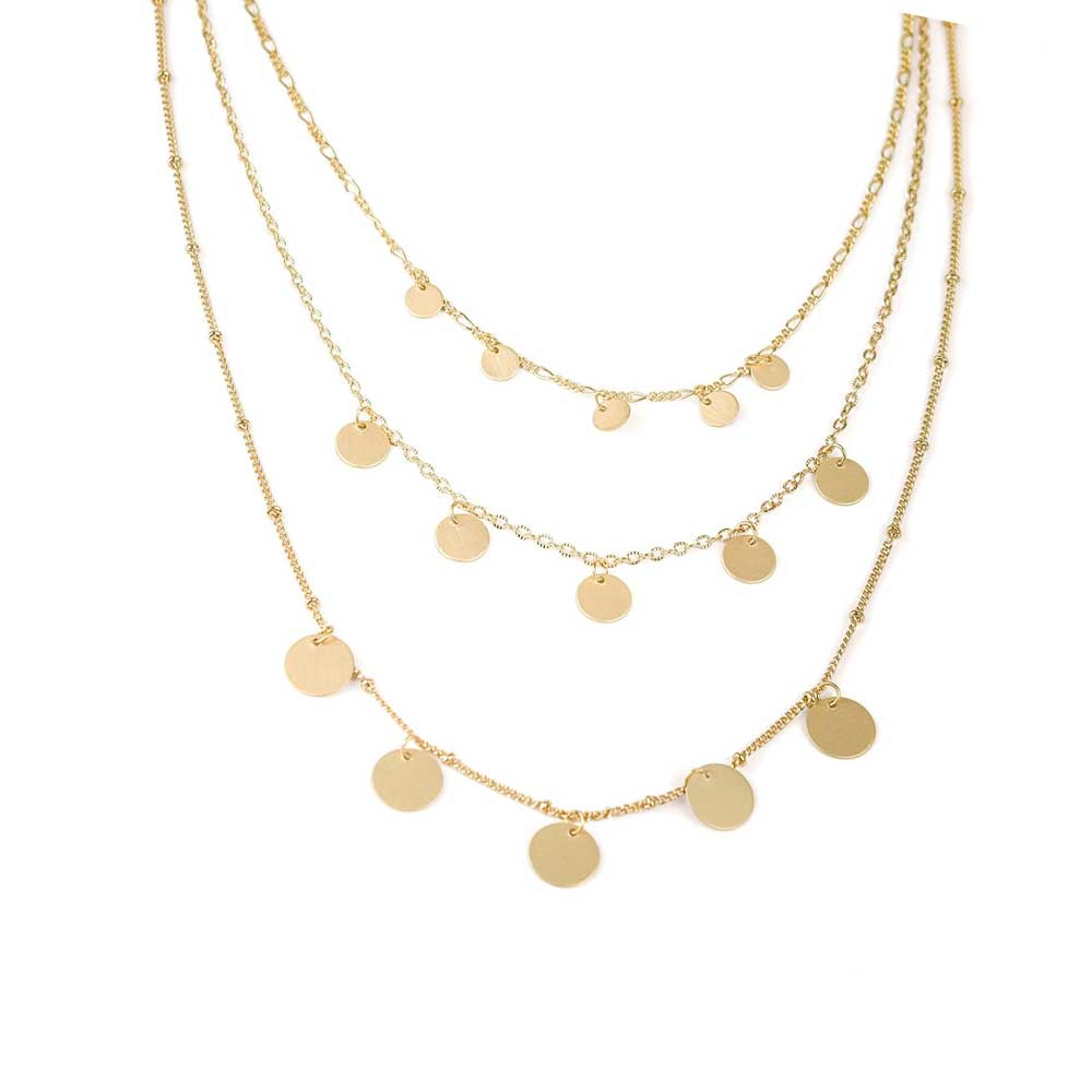 Layered Disc Gold Necklace - MILK MONEY