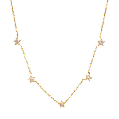 Layered Star Pave Necklace gold MILK MONEY