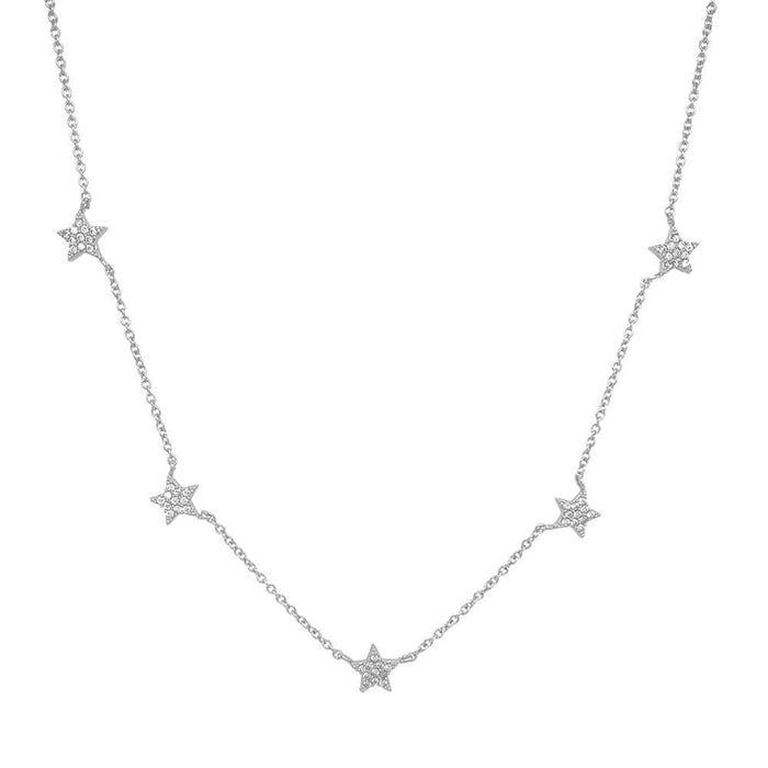 Layered Star Pave Necklace silver MILK MONEY