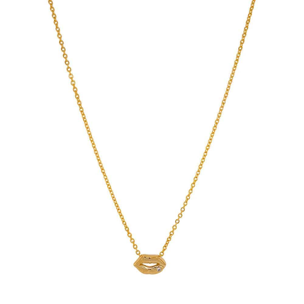 Layering Lips Necklace Gold MILK MONEY
