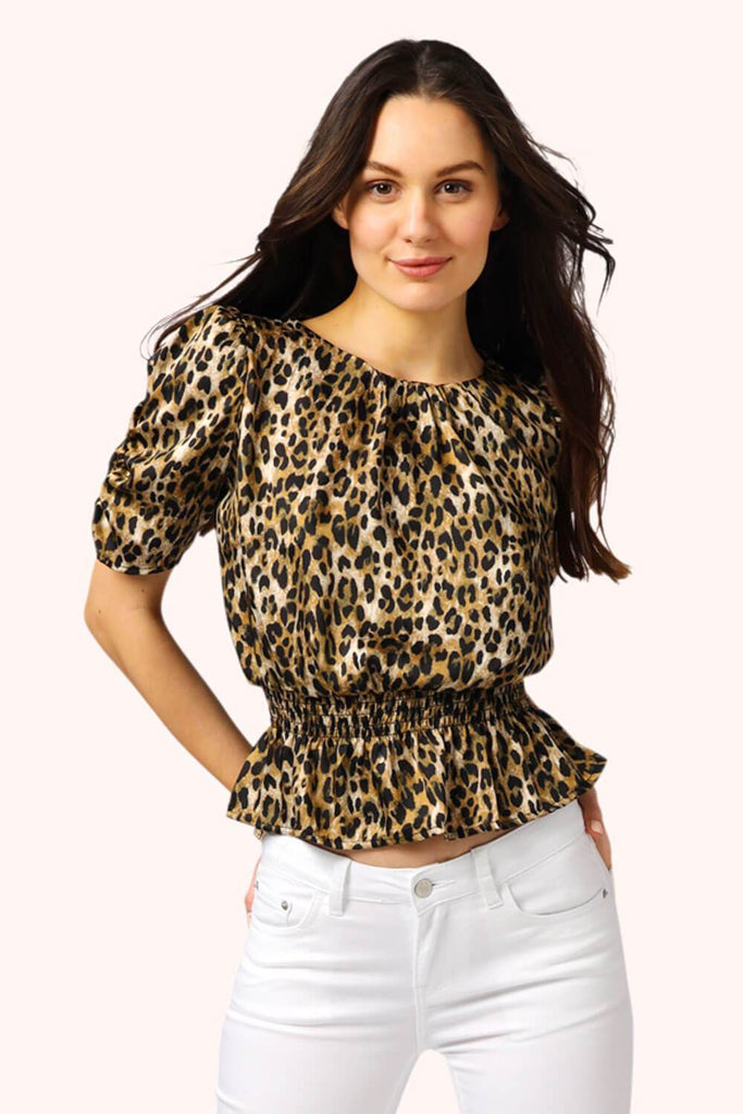 Leopard Ruched Sleeve Top MILK MONEY