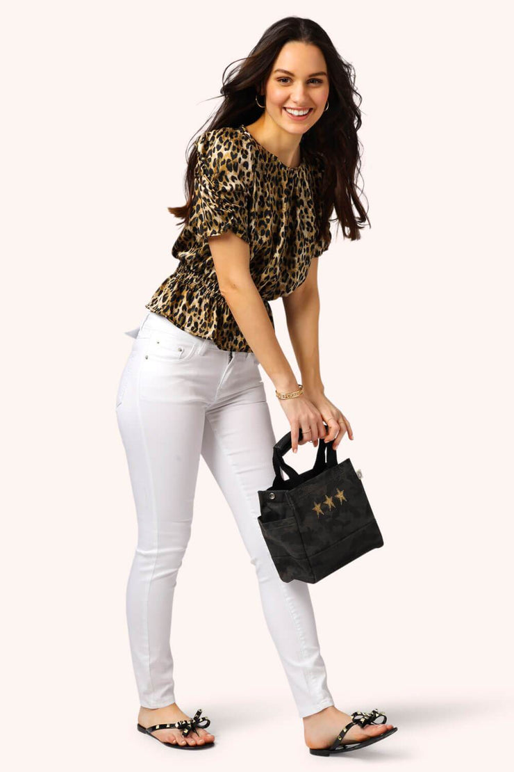 Leopard Ruched Sleeve Top MILK MONEY full body