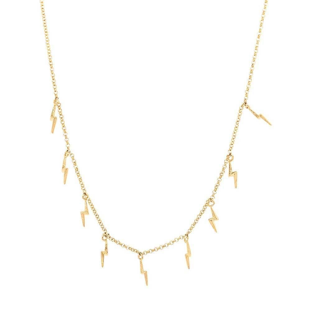 Lighting Bolts Layering Necklace Gold - MILK MONEY