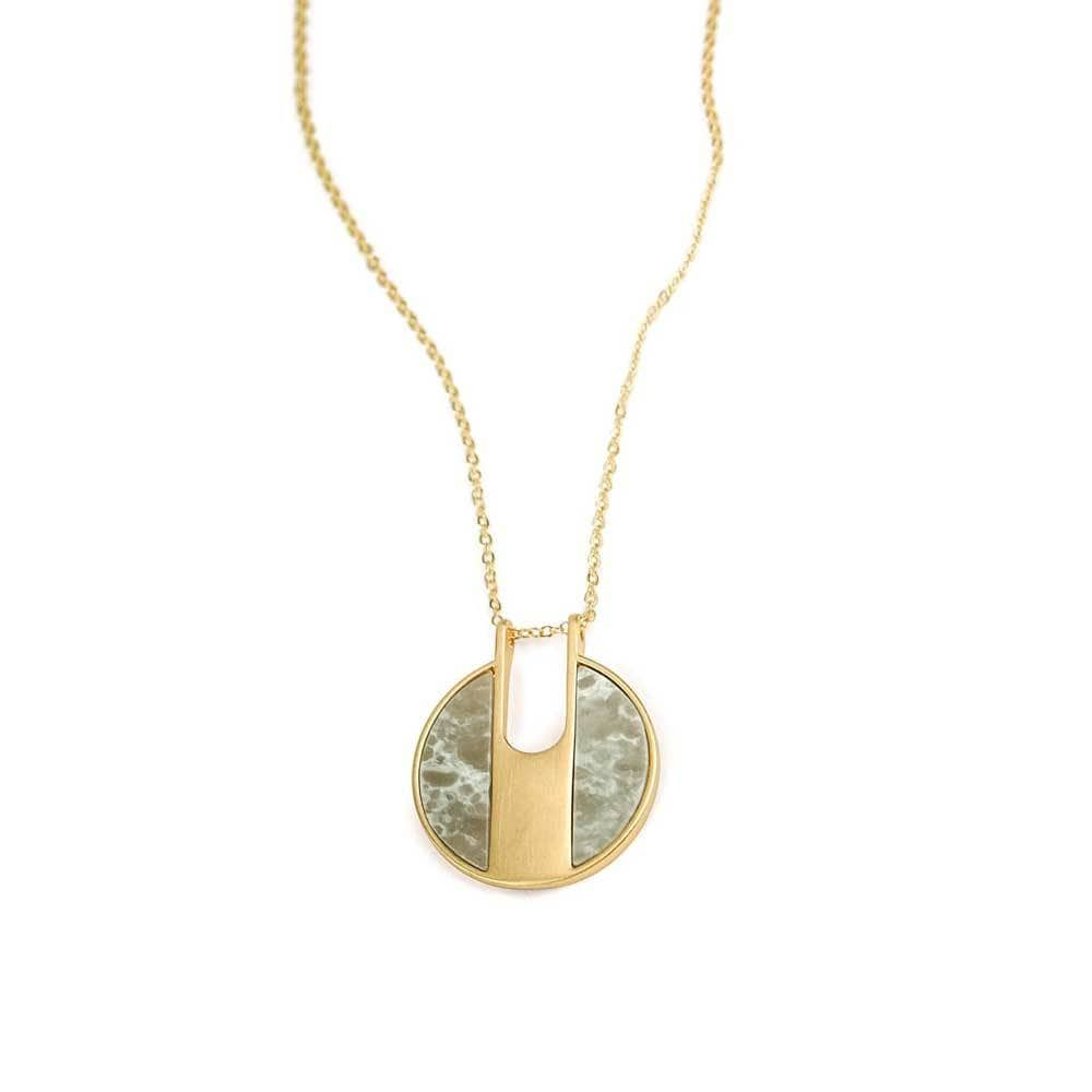 Lilly Stone Circle Necklace Grey Gold - MILK MONEY