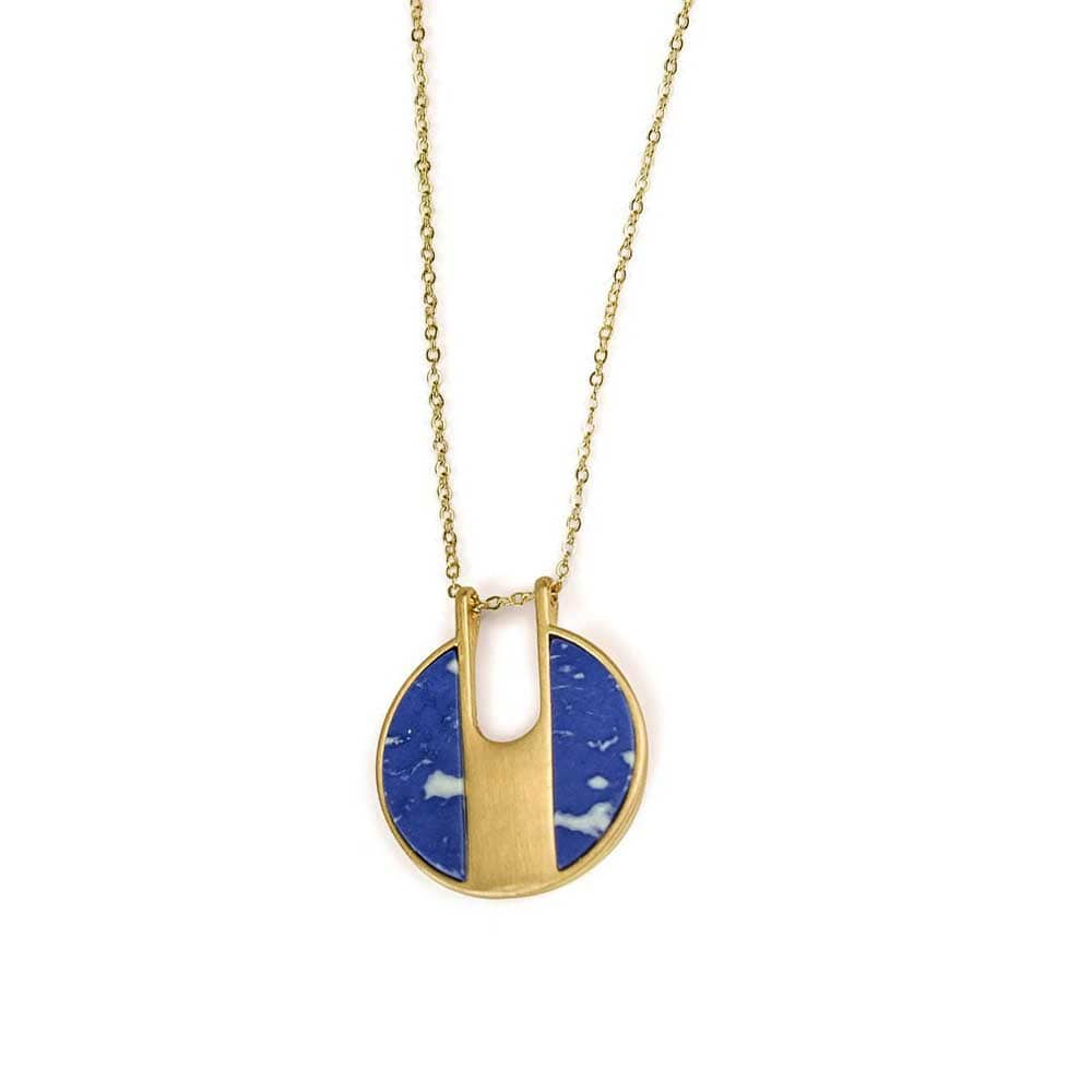 Lilly Stone Circle Necklace Blue Gold - MILK MONEY