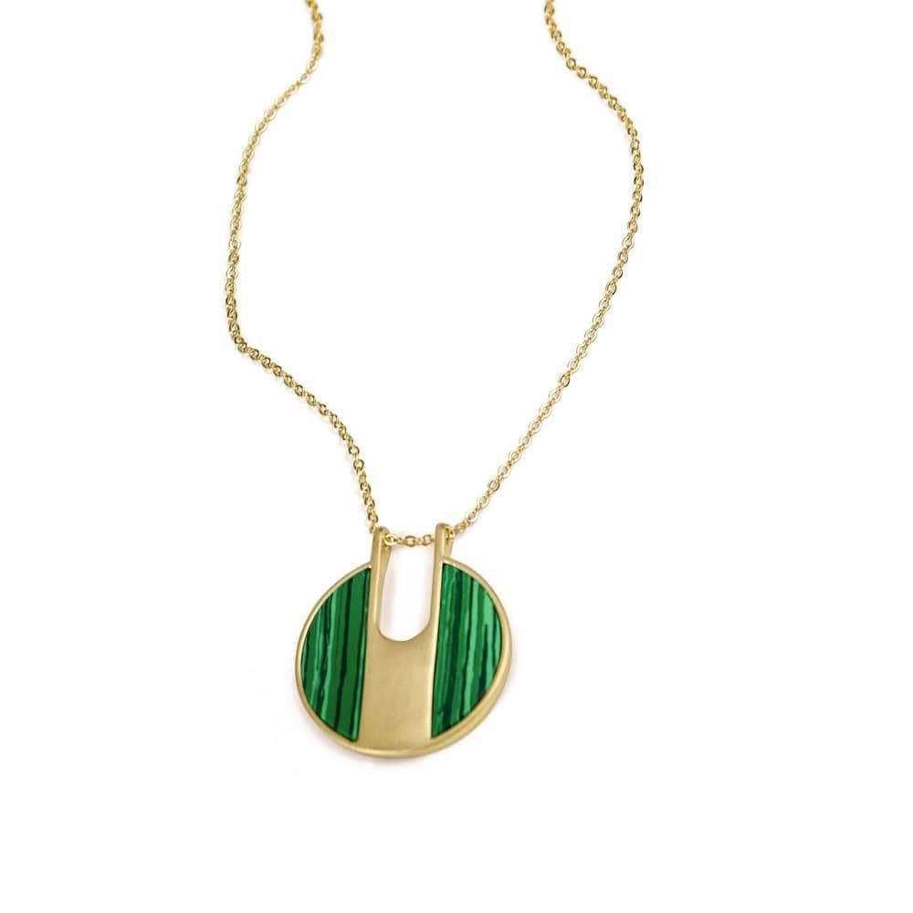 Lilly Stone Circle Necklace Green Gold _ MILK MONEY