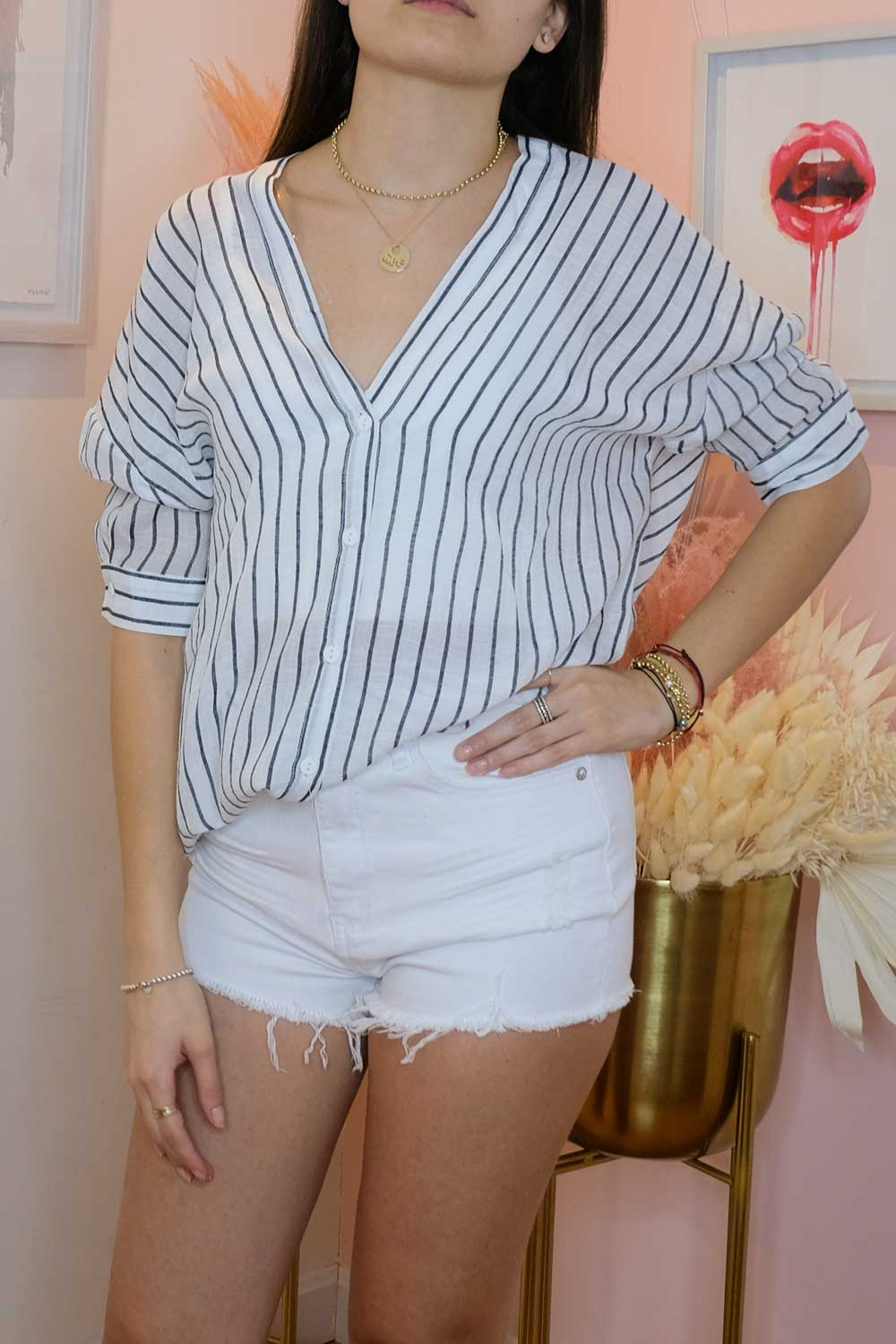 Oversized Linen Striped Tunic Top