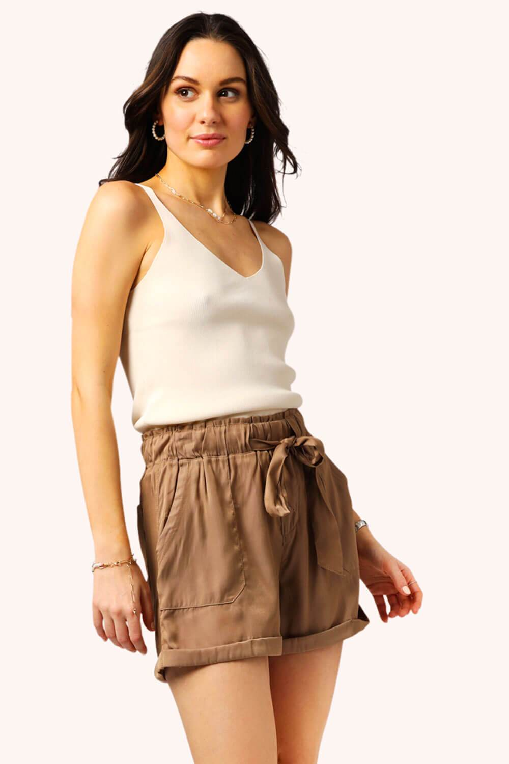 Living Easy Shorts Khaki MILK MONEY side