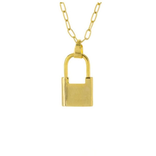 Lock Charm Necklace gold front MILK MONEY