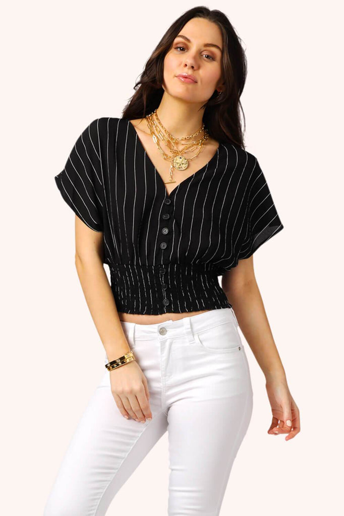 Lola Striped Crop Top black MILK MONEY