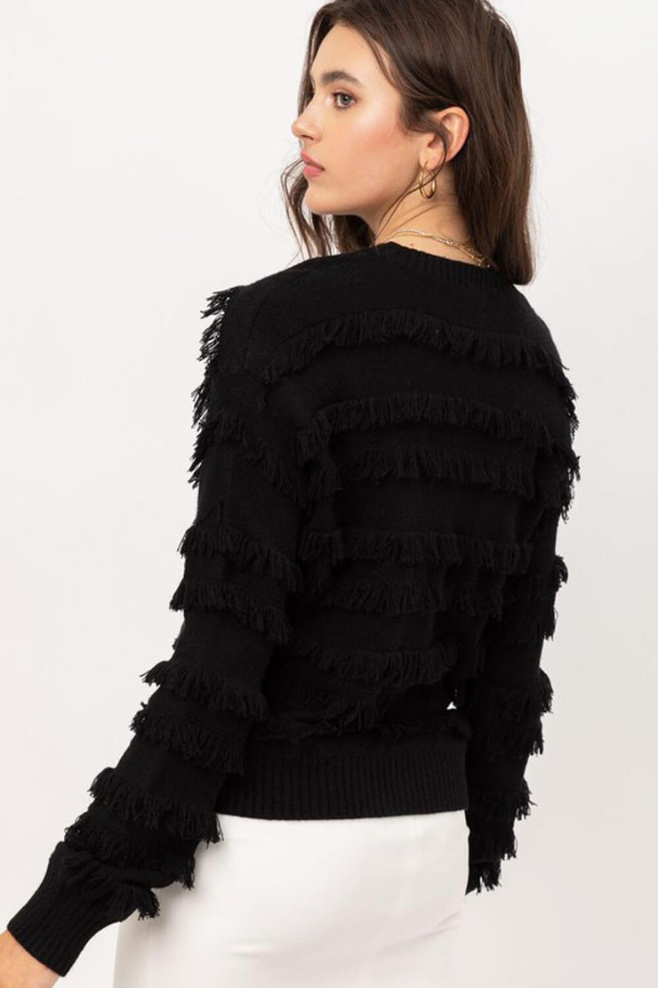 Lolo Fringe Sweater black back MILK MONEY