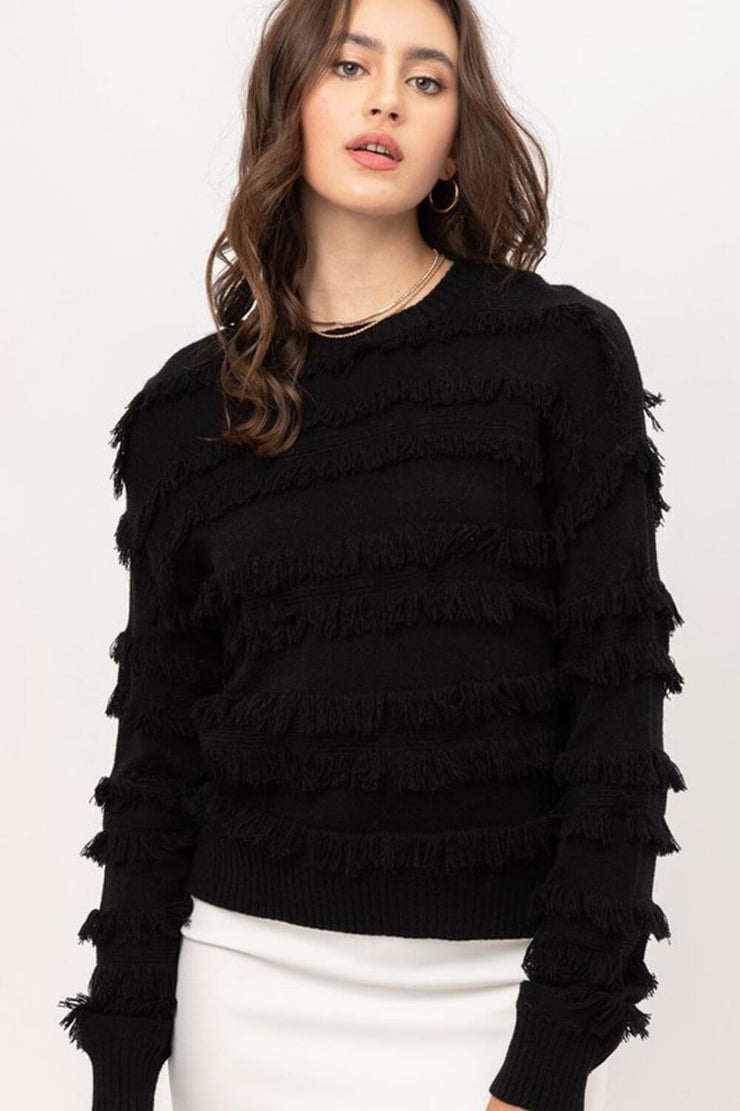 Lolo Fringe Sweater black front MILK MONEY