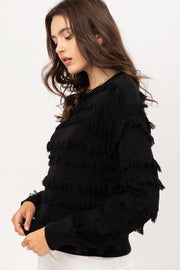 Lolo Fringe Sweater black side MILK MONEY