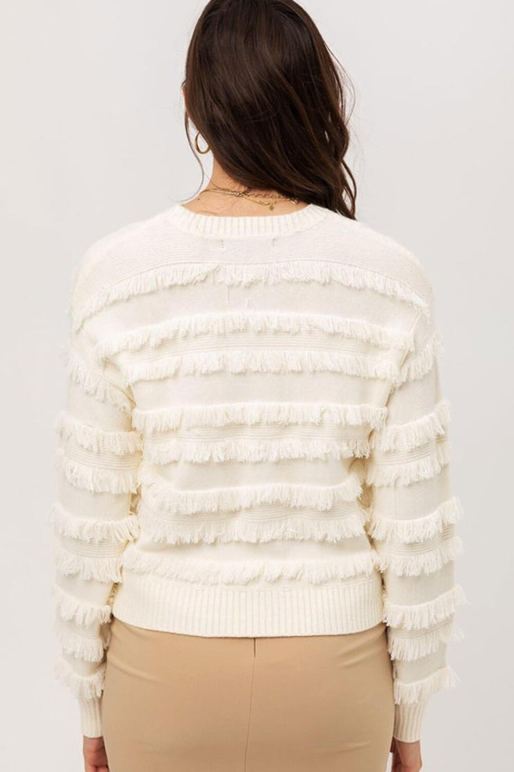 Lolo Fringe Sweater ivory back MILK MONEY