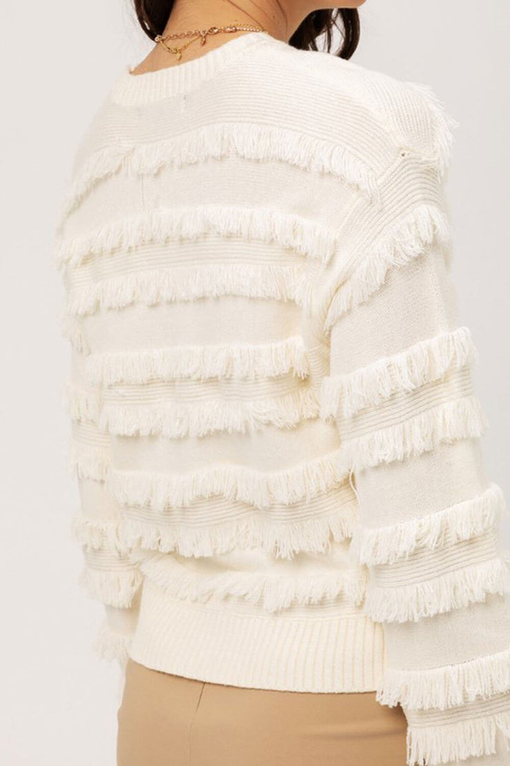 Lolo Fringe Sweater ivory detail MILK MONEY