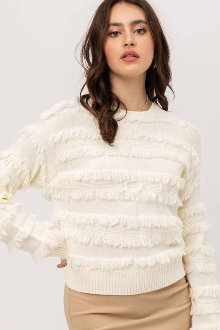 Lolo Fringe Sweater ivory front MILK MONEY