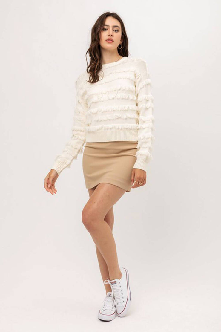 Lolo Fringe Sweater ivory full MILK MONEY