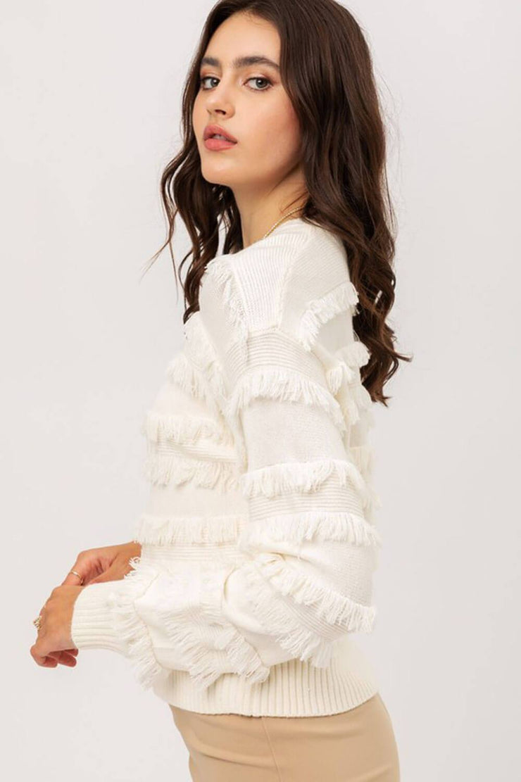 Lolo Fringe Sweater ivory side MILK MONEY