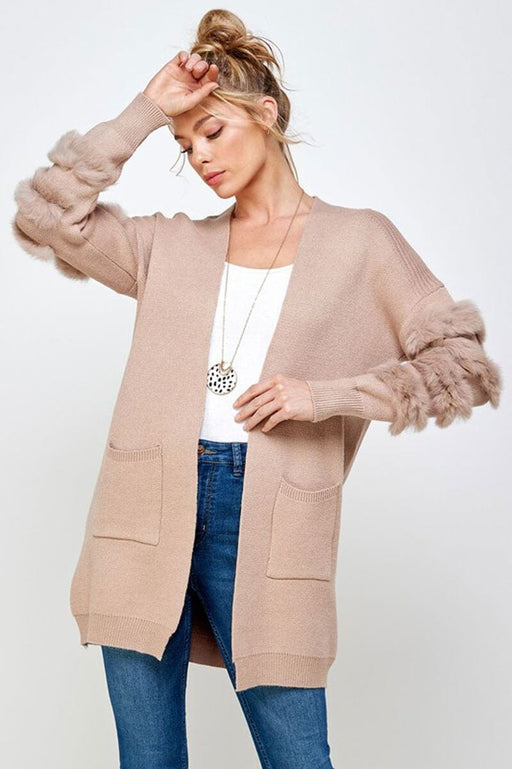 Long Fur Sleeve Cardigan camel front MILK MONEY