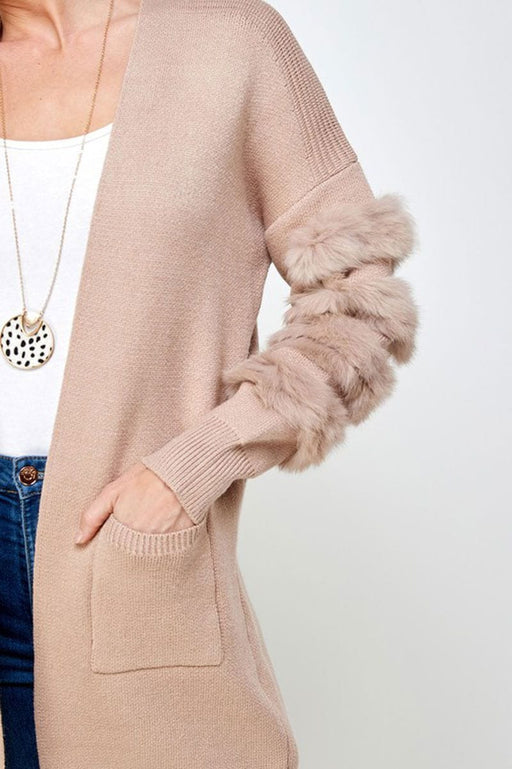 Long Fur Sleeve Cardigan camel detail MILK MONEY