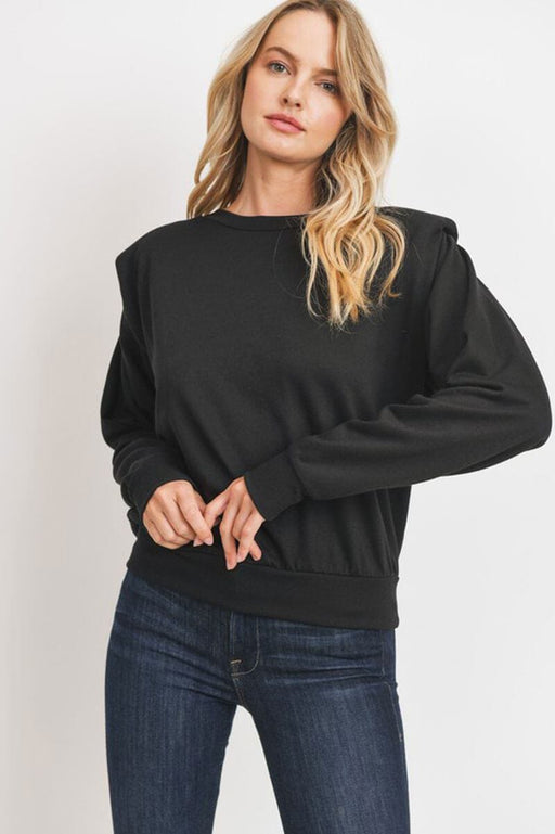 Long Sleeves Padded Shoulders Knit Top black front MILK MONEY