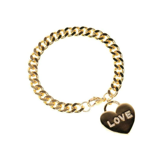 Love Hearted Charm Bracelet gold front | MILK MONEY | milkmoney.co