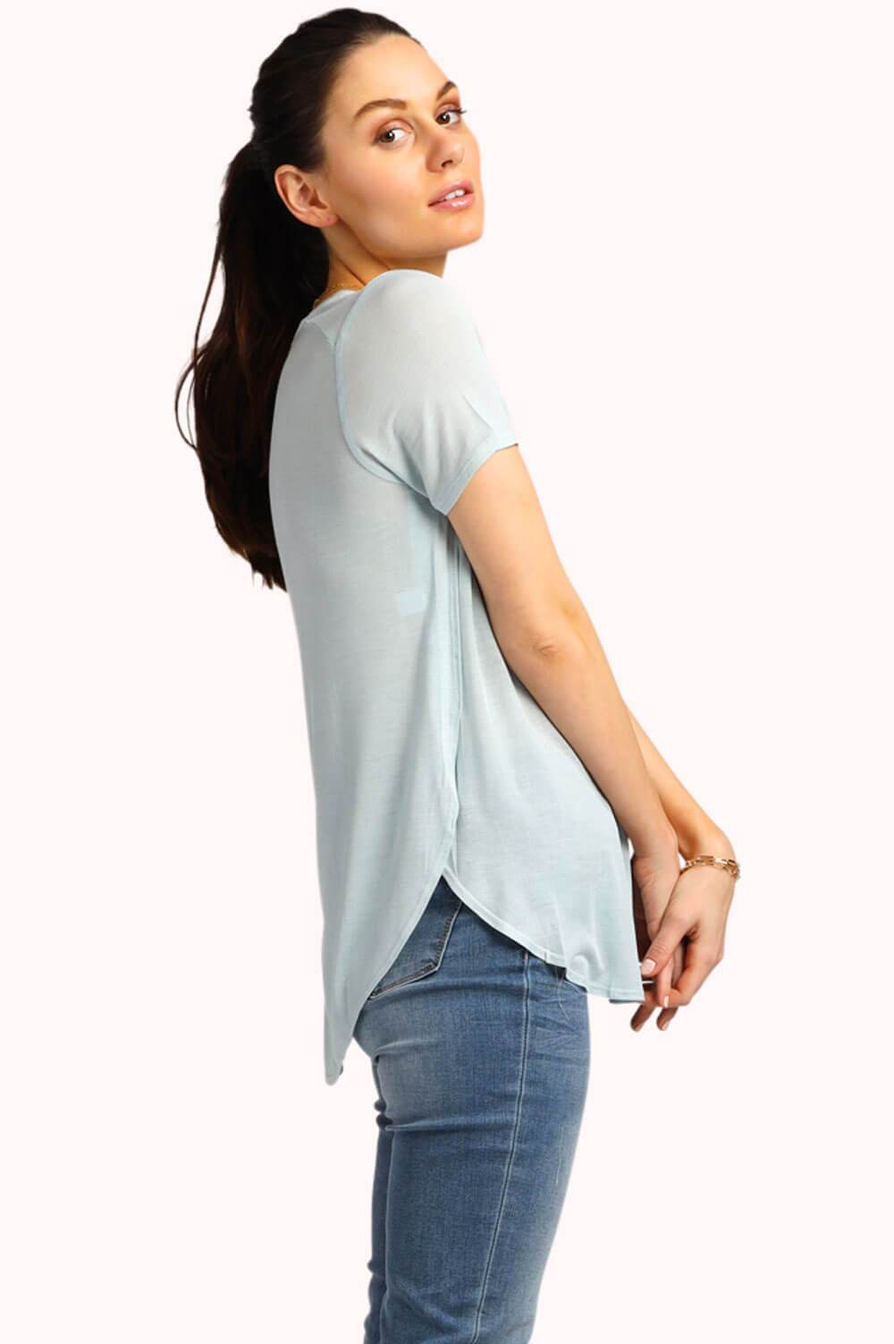 LuLu Scoop Neck Tee Faded Denim MILK MONEY