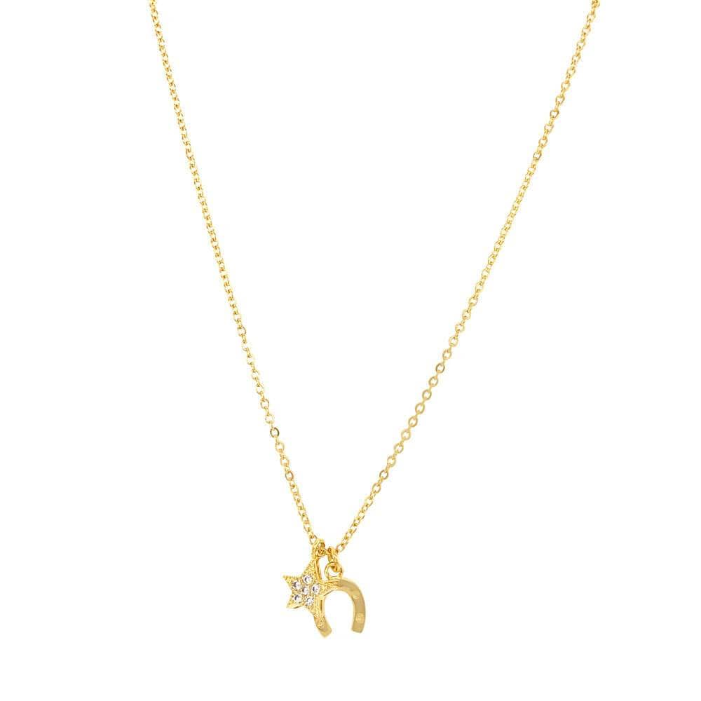 Lucky Gal Charm Layering Necklace Gold MILK MONEY