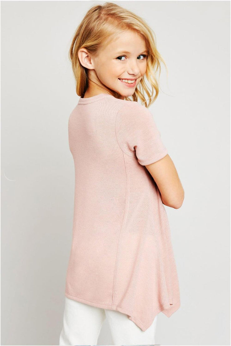 Lucy Long Tunic Top pink back MILK MONEY Kids