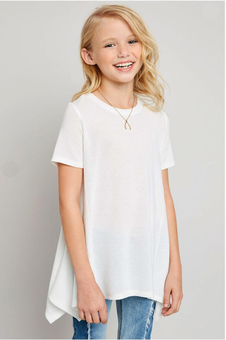 Lucy Long Tunic Top white front MILK MONEY Kids