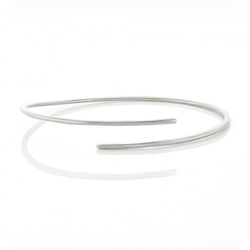 Matte Plain Bracelet with Overlapping Ends Silver _ MILK MONEY