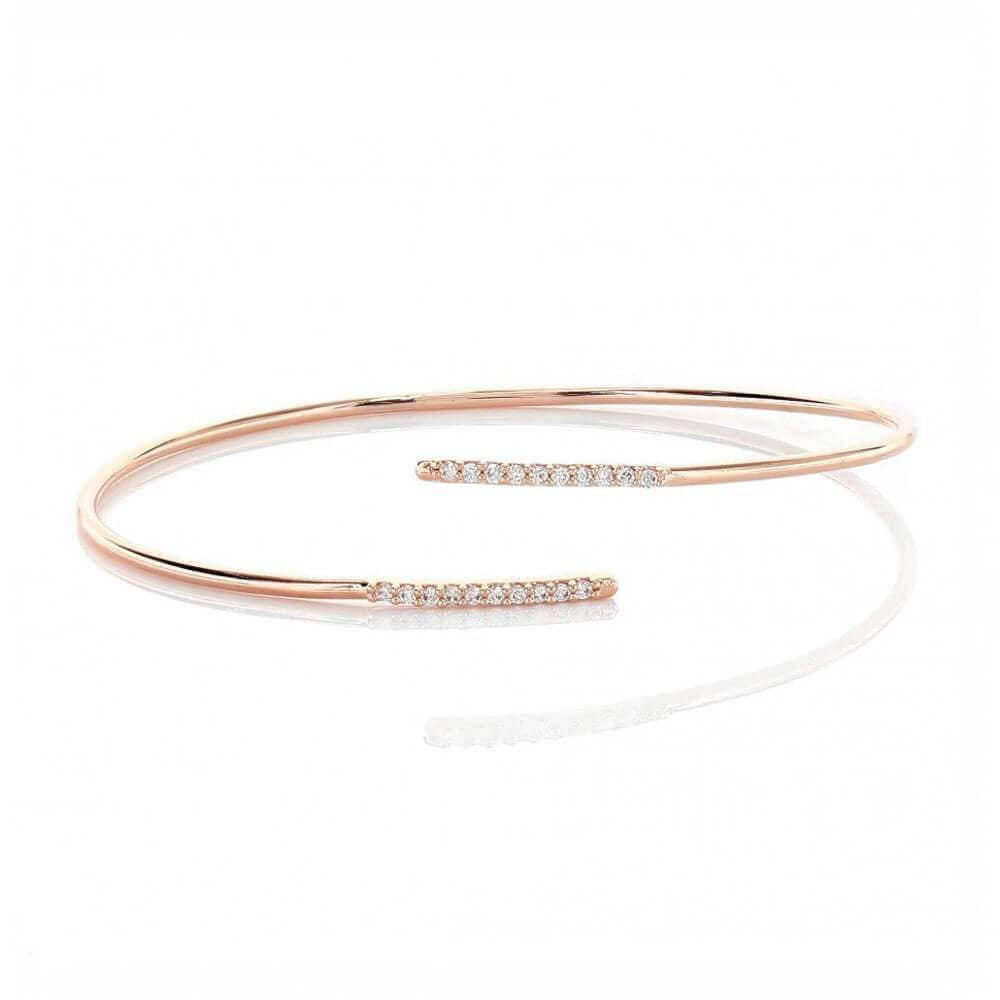 Everyday Layering Pavé Cuff Bracelet Rose Gold _ MILK MONEY