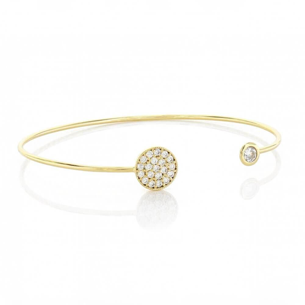 Open Bracelet with Pavé Cubic Zirconia Circle & Stud Gold - MILK MONEY