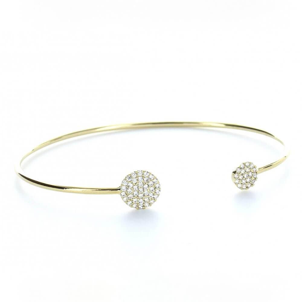 MILK MONEY Layering Pavé Circle Cuff Bracelet Gold