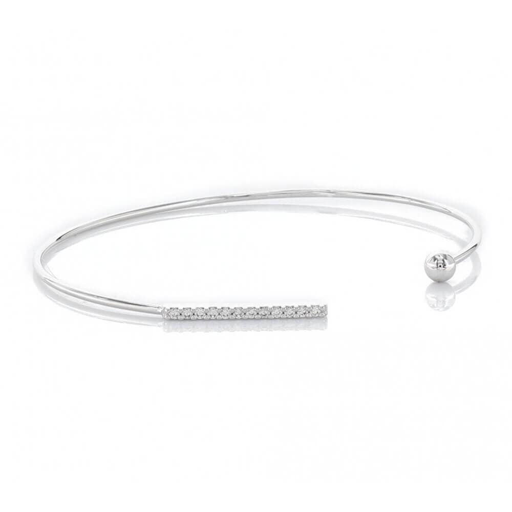 Open Bracelet with Pavé Cubic Zirconia Bar & Plain Stud Silver - MILK MONEY