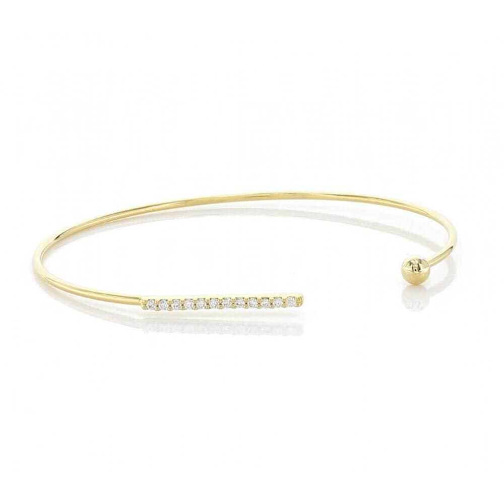 Open Bracelet with Pavé Cubic Zirconia Bar & Plain Stud Gold - MILK MONEY