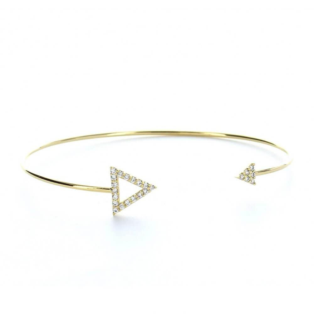 MILK MONEY Pave Triangle Open Cuff Gold