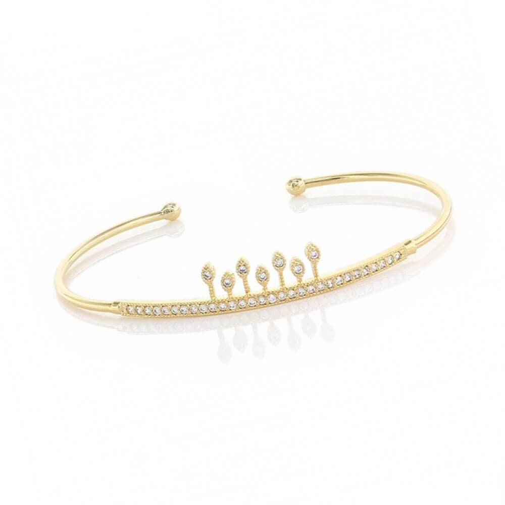 MILK MONEY Princess Pavé Cuff Bracelet Gold