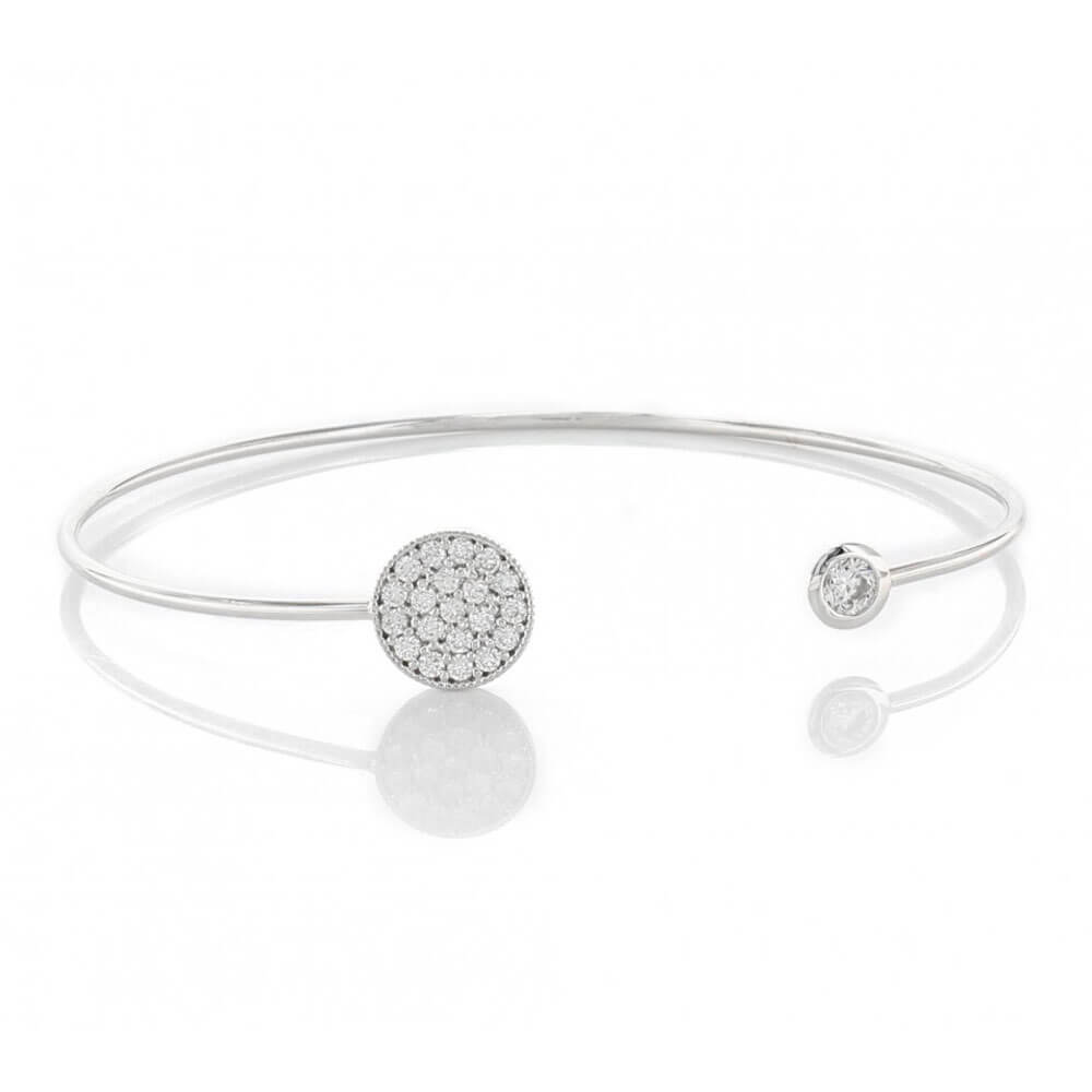 Open Bracelet with Pavé Cubic Zirconia Circle & Stud Silver - MILK MONEY