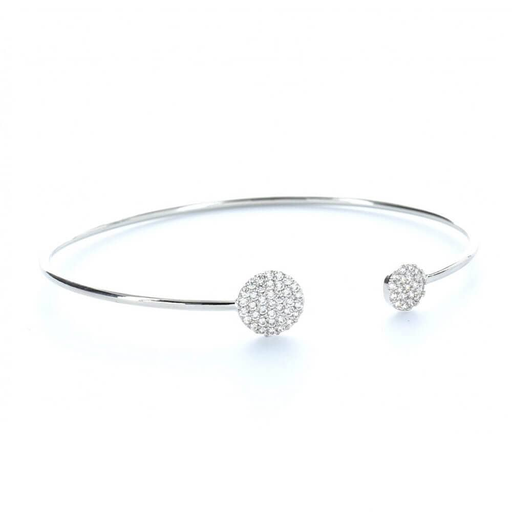 MILK MONEY Layering Pavé Circle Cuff Bracelet Silver