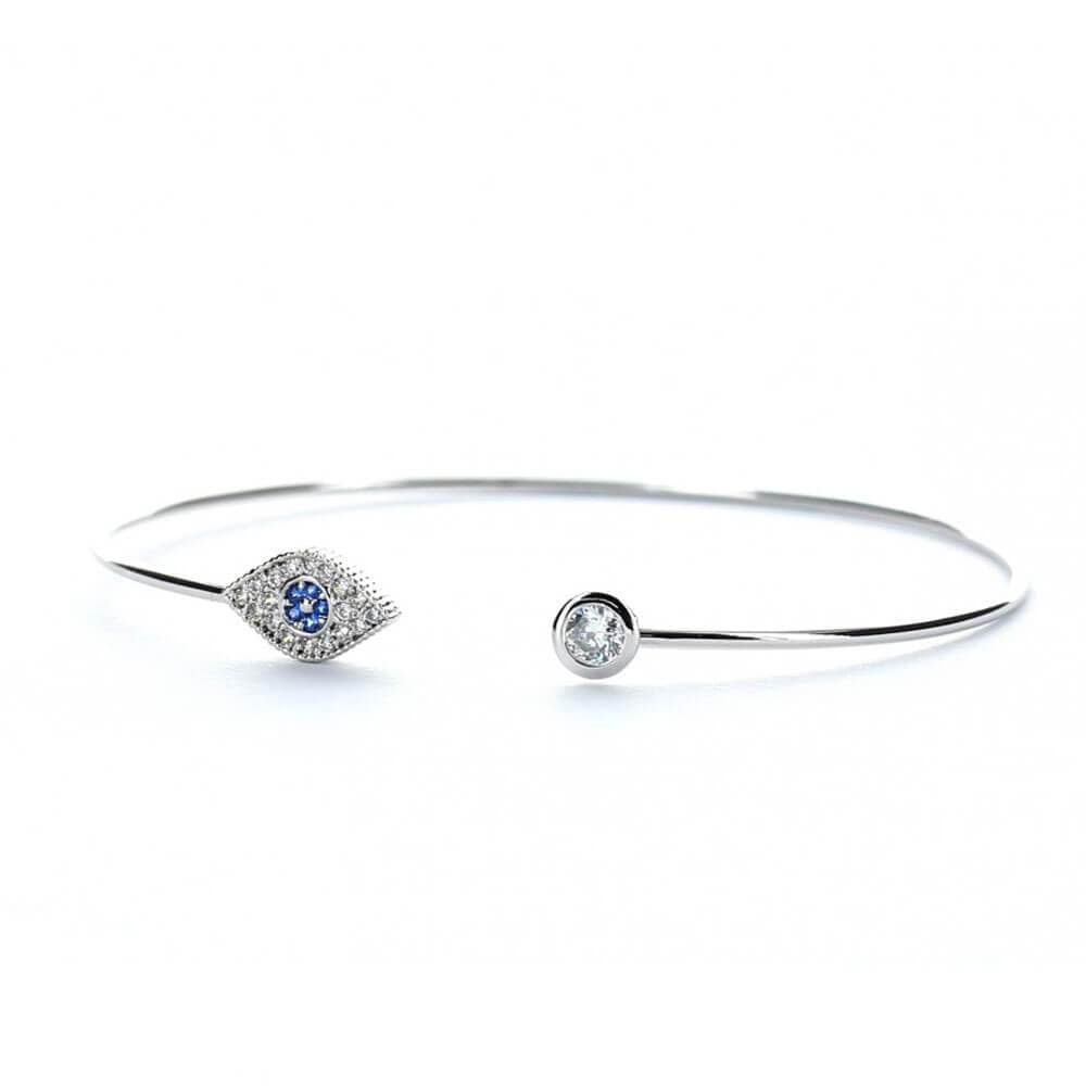 MILK MONEY Layering Evil Eye Open Silver Cuff