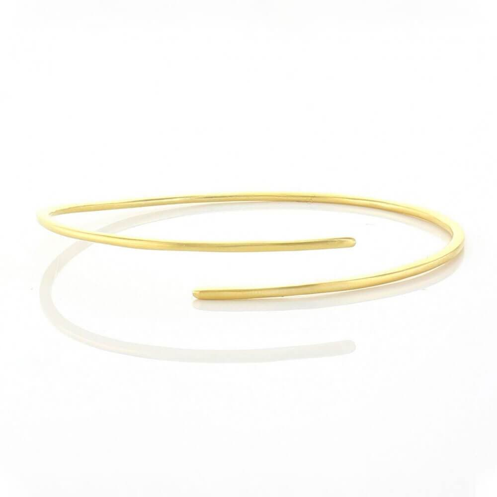Matte Plain Bracelet with Overlapping Ends Gold _ MILK MONEY
