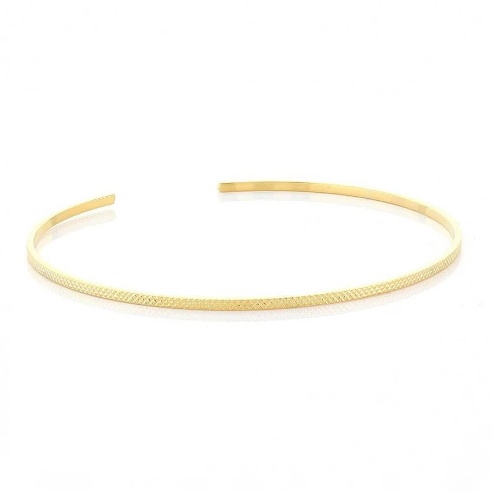 Texturized Thin Open Bangle Gold _ MILK MONEY