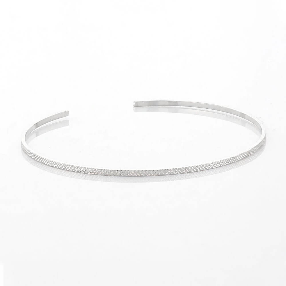 Texturized Thin Open Bangle Silver _ MILK MONEY