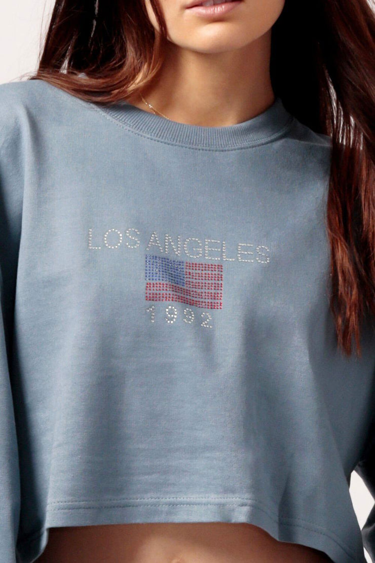MILK MONEY Women's Cropped LA Sweatshirt Blue close up