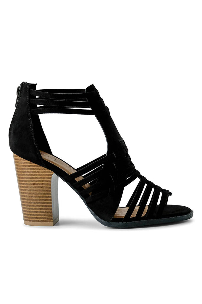 MILK MONEY Womens Black Strappy Open Toe Bootie